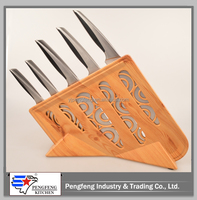PF-SK03-WS06~Set of 5Pcs Knife Set w/Coating Plastic Block