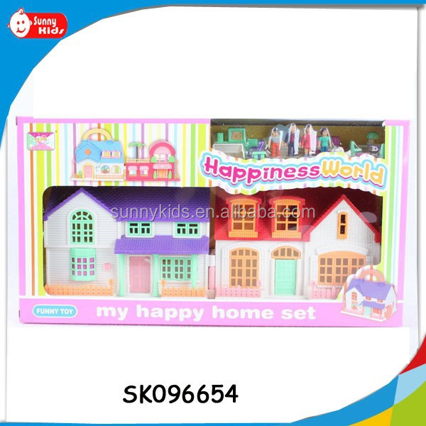 flashing light and music suitcase villa toys with furniture