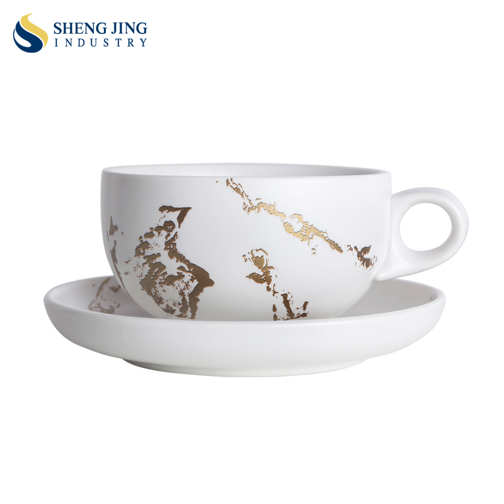 New Gold Decal Marble Porcelain white espresso coffee <strong>Cup</strong>