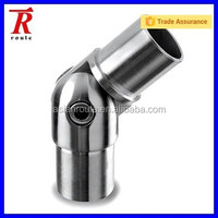 Stainless steel flush fitting adjustable angle tube connector for modular system