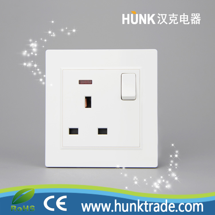 PC copper material 1 gang British 13A switch socket with led