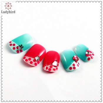 3d rhinestone glitter carving pwder nail art french nail tips