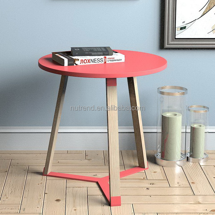 Unique design wood rounded bed side small table with metal fixed legs