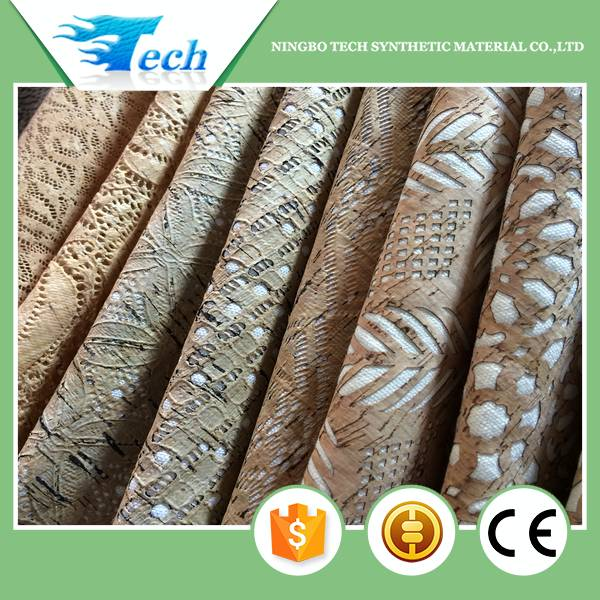 2017 hollowing-out natural cork fabric for shoes,bags and wall covering