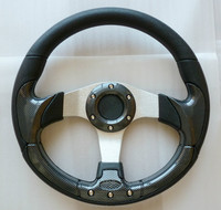 China manufacture Universai 320mm PU black wood steering wheel for kids go-kart