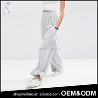 OEM Pluz Size European Style High Waist Dropped Side Pockets Loose Wide Leg Stretch Long Casual Pants