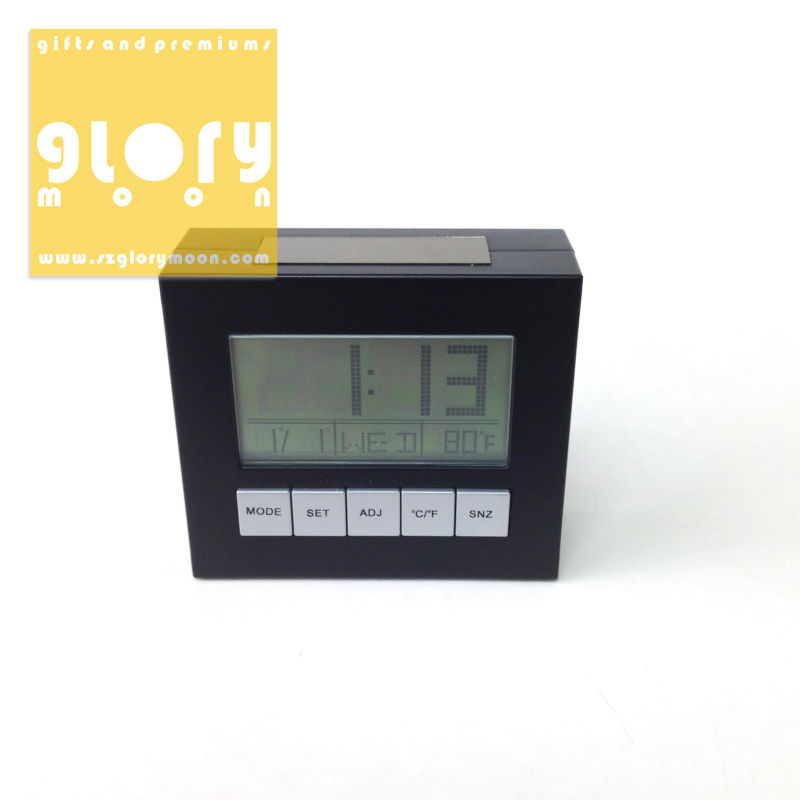 SOLAR POWERED DIGITAL CALENDAR CLOCK WITH THERMOMETER