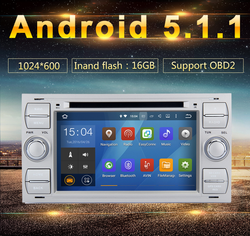 7 Inch In Dash Android 5.1 Car DVD Player For Ford/Mondeo/Focus/Transit/C-MAX With Quad Core Wifi GPS Navigation double din car