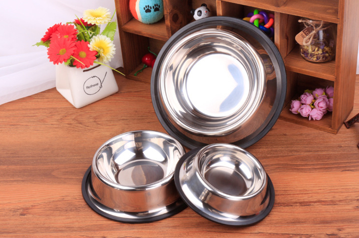 Homeuse rubber ring travel stainless steel dog bowl