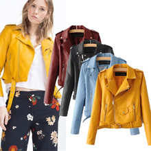 NJ1471 2017 autumn/winter fashion women lapel leather jacket