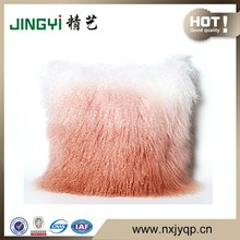 2016 Decorative Real Mongolian lamb Sheepskin fur Cushion Cover Gradient Color