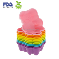 Easy Release And Flexible bear shape Silicone cupcake baking mold silicone baking cupcake