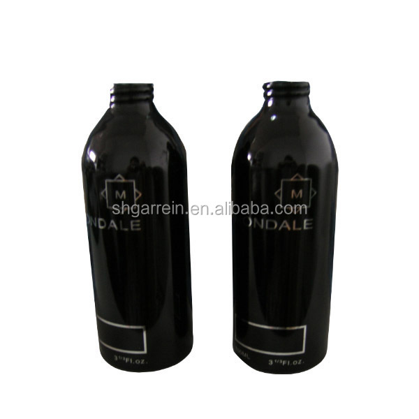 400ml 450ml 500ml 16oz black aluminum bottle with printing for cosmetic package