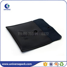 Small Black Envelope Pu Leather Jewelry Bag With Embossed Logo