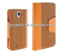 New product wallet wood grain case cover for samsung s4