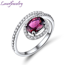 Tourmaline Engagement Ring For Women Oval 6x8mm Solid 18Kt White Gold Natural Diamond Pink Natural Gemstone Fine Jewelry WU223