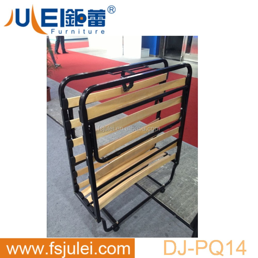 simple design steel net foldable double rollaway bed DJ-PQ14 fold out bed with castors