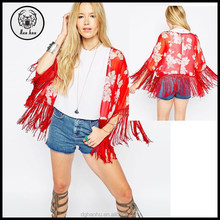 Cropped Kimono in Red Floral Print with Fringing