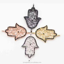 2017 New Style CZ stone paved Flower rattan pattern Hollow Amulet Hand Of Fatima Shaped Connector jewelry component