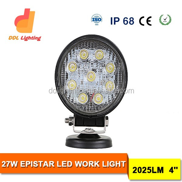 "4"" round led work light waterproof 27w off road trailer 24v led trailer light china"