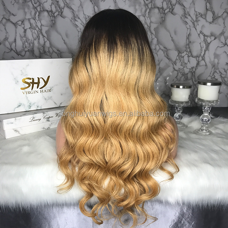 Glueless 1BT#27 Ombre Human Hair Wigs With Baby Hair Body Wave Full Lace Wig For Black Women Blonde Virgin Hair Bleached Knots