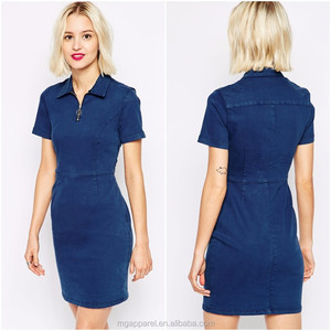 China Women Clothing Supplier Fashion Dress Shirt Short Sleeve Denim Dress With Polo Neck 100%Cotton Blank T-Shirt Dress