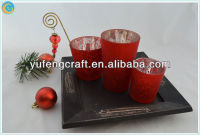 set of 3 red candle holder red wedding centerpieces