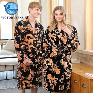 Luxury Thick Adult Traditional Imperial Dragon Robe Soft Comfortable Sexy SPA Coral Fleece Hotel Men Women Bathrobe