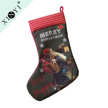 Santa claus print home decoration christmas stocking cheap bulk gifts wholesale chinese christmas ornament