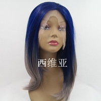 blue ombre wig short bob wigs for black women synthetic lace front wig heat resistant
