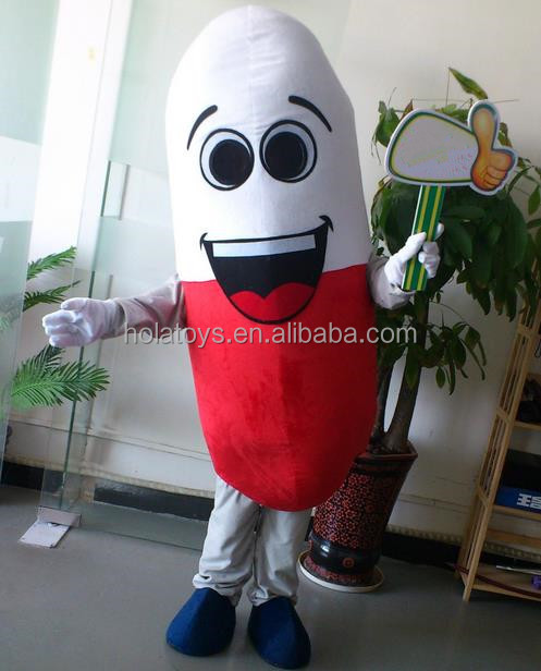 Hola white and red pill capsule mascot costume/adult pill costume