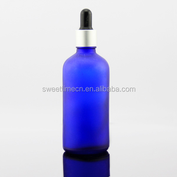 100 ml blue frosted glass bottle with dropper cap essential oil glass bottle