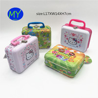 large rectangular Hello Kitty kids gift hot selling lunch tin boxes with plastic handle