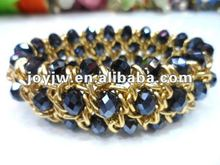 aluminium chain 3 rows stretch crystal bracelet black color