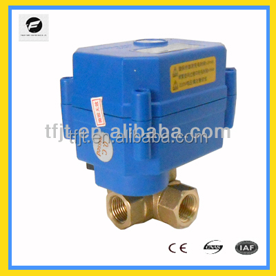 3 way DC12V DN8 <strong>L</strong>-flow Bronze motorized ball valve with manual override <strong>operation</strong> and position indicator