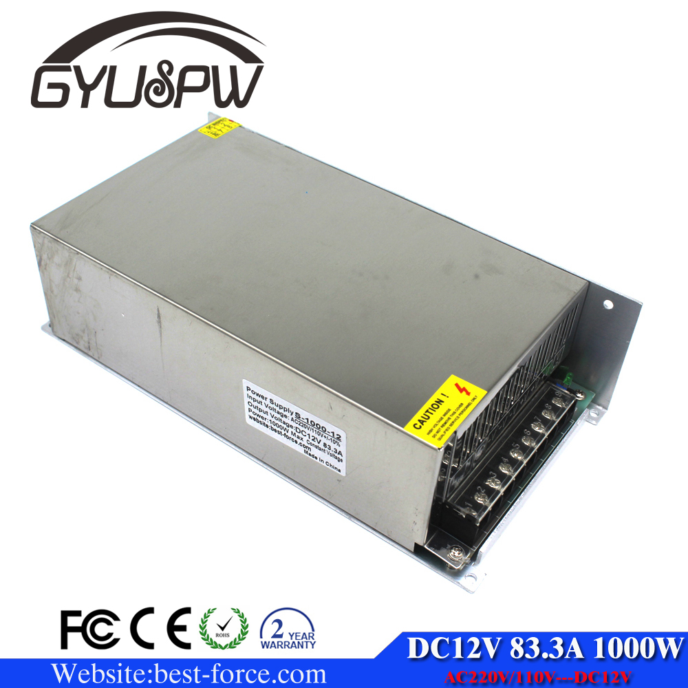 1000w 12V Single Output Switching Power Supply AC110v 220v Fan Cooling LED Driver Tranformer
