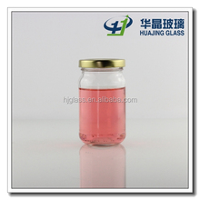 200ml clear cylinder round glass caviar container with tin lid
