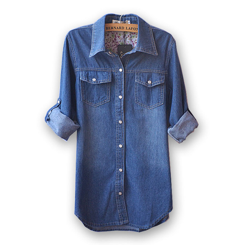 New Women's Classic Denim Shirt Spring 2015 Autumn Vintage Loose Long-sleeve Water washed Denim shirt Outerwear Tops Plus size