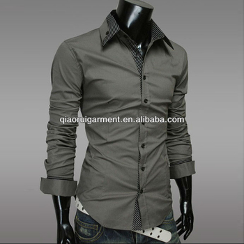 2017 Newest design Unbranded Slim fit official/dress Grey long sleeve double collar&cuff mens/boy shirt clothing manufacturer