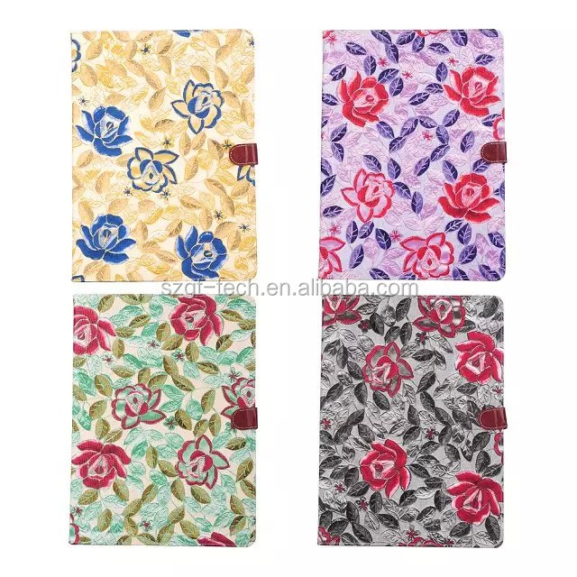 Classic Flower Tablet Case PU Leather Stand Flip case for iPad Pro