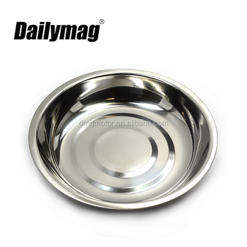4 1/4 Inch Round stainless steel Magnetic Parts Tray/Magnetic tool tray with Non-Toxic Lead-Free Rubber Base