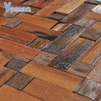 Buy interior and bathroom teak wood mosaic tile 300x300mm in China ...
