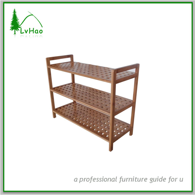 High quality good sales 3 tier bamboo shoe rack in flat lattice design