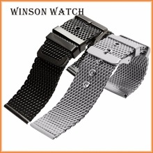 High quality Band silver, black, gold color stainless steel woven mesh watch band