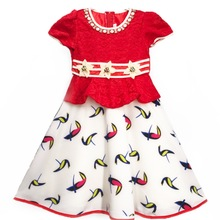 695-1 Red Haolaiyuan 2017 Factory sale various flower girl baby kids party dress