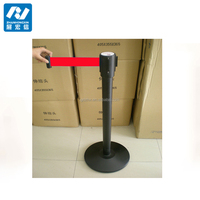 retractable crowd control belt barrier post stand