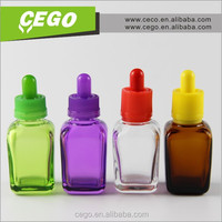 Wholesale square e-liquid bottle 15ml 30ml purple childproof cap for water with shrink wrap
