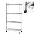 4-Tier light wire shelving with wheels Chrome plated wire shelving rolling function wire shelving