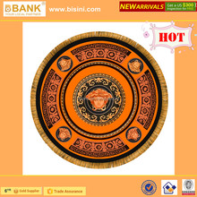 (BK1510-0005) ORANGE-BLACK Carpet and Rug/Exclusive Baroque Style Carpet with Golden Bangs /Hand-made Round Woollen Carpet