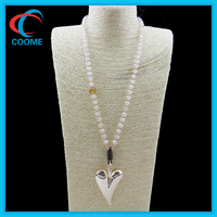 Latest Designs Bead Chain Heart Pendant Long Necklace